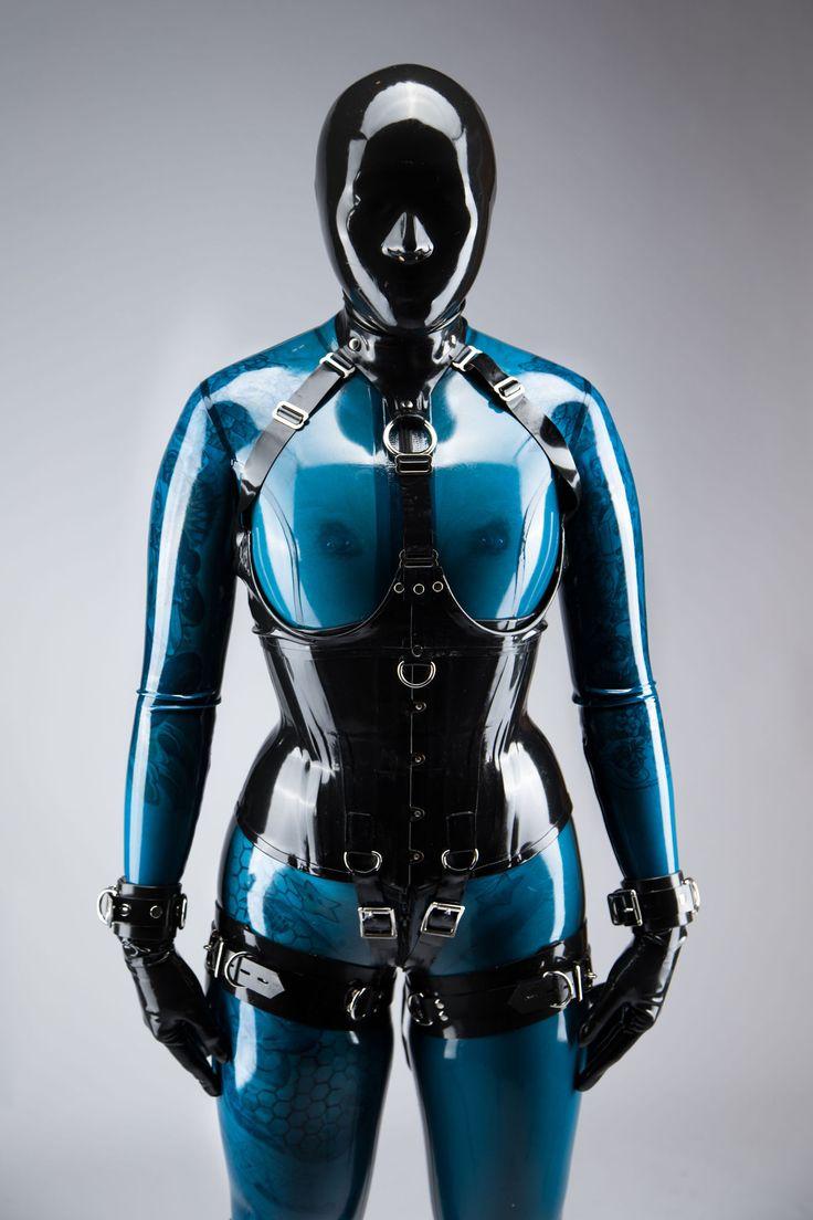 Girl in Transparent Blue Latex Catsuit #6 | Latex