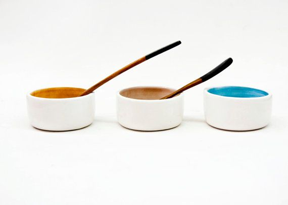 Ceramic bowls set x 3  Small pottery bowls  by noemarin on Etsy