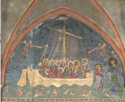 La Navicella, d'après une célèbre mosaïque de Giotto, qui représente un épisode rapporté par l'évangile selon Matthieu (chapître 14) est un symbole de l'Eglise