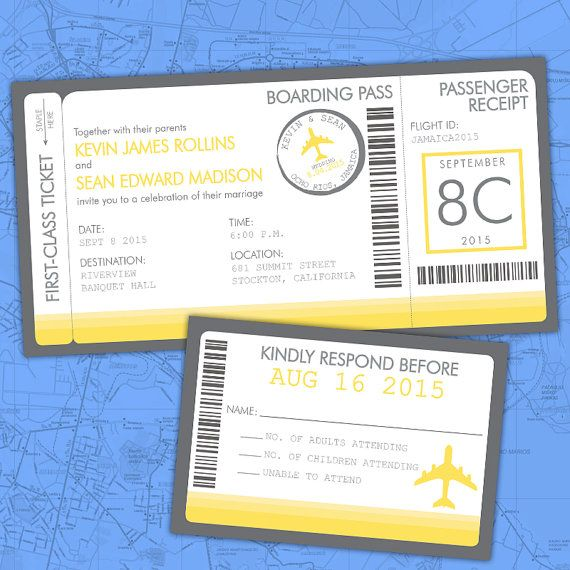 "Heading out of town for your wedding, civil union or commitment ceremony? Our ""Ticket to Love"" Boarding Pass invitations are the perfect way to invite your guests to a reception once you get home. The invitation gives the details for your reception, while the stamp at the top gives them the location and date of the actual wedding.  Custom ""Ticket to Love"" Boarding Pass Same-Sex, Gay Lesbian invitations by InviGAYtions."