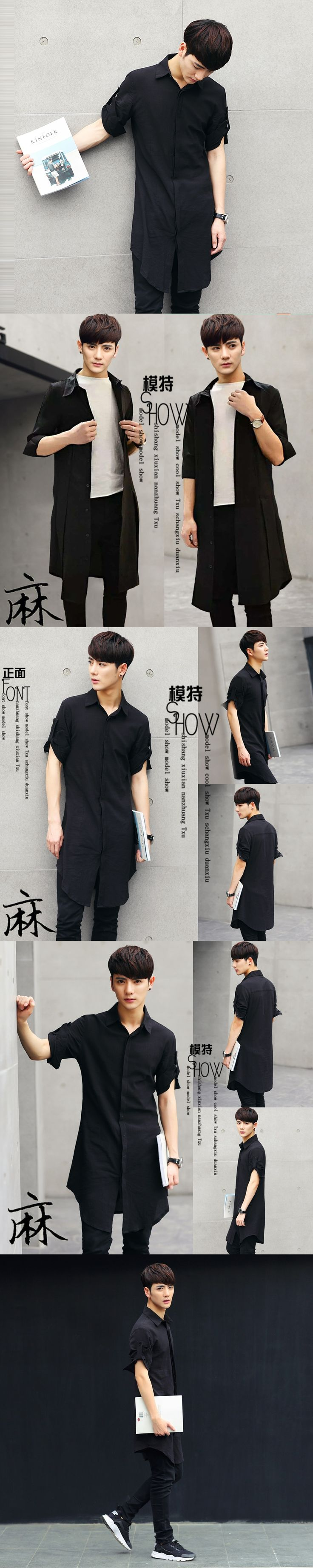 2016 Long design shirt male slim men's clothing medium-long three quarter sleeve shirt thin half sleeve shirt outerwear