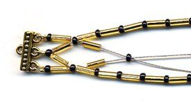 Golden Bugle Bead Bracelet   AllFreeJewelryMaking.com