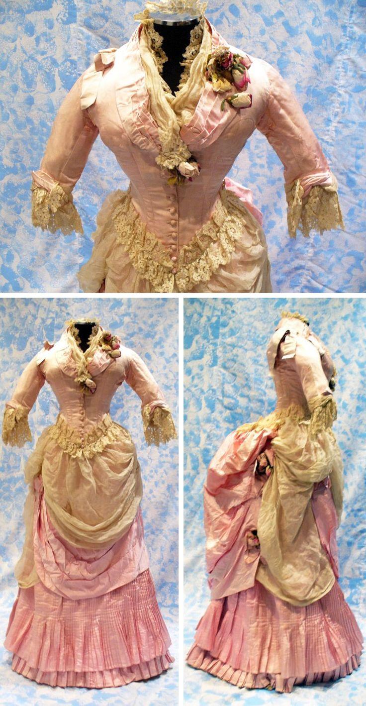 Walking dress, 1883. Pink silk satin, silk organza, lace, and applied silk…