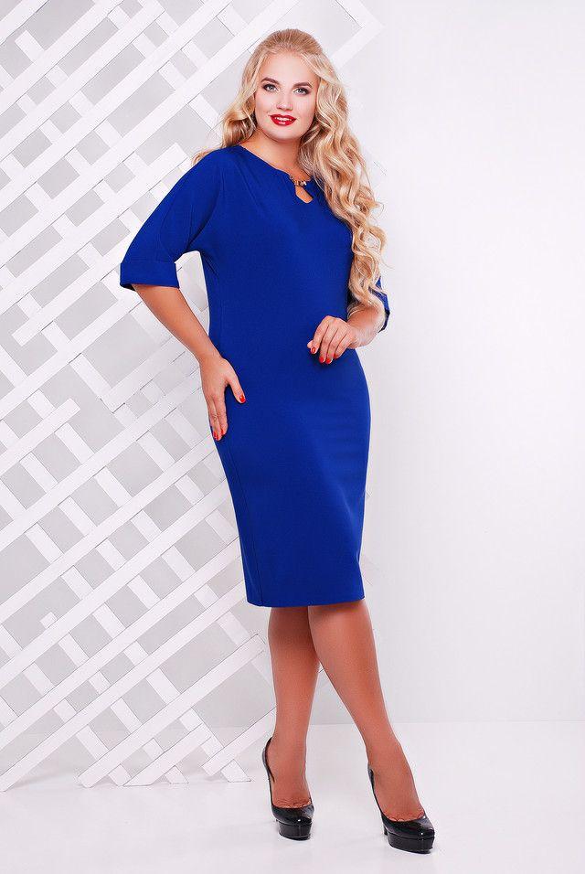 Элегантное женское платье Оливия электрик (50-58) - цена 550 грн. Купить платья женские в Украине.
