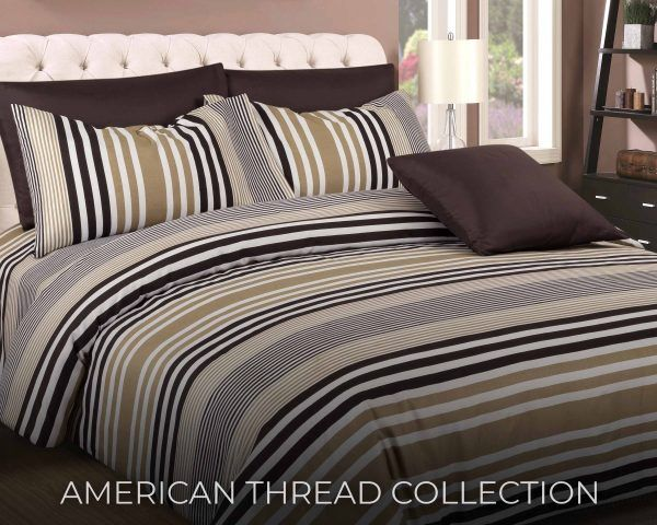 6 Piece Microfiber Bed Sheet Brown And White Stripes Set Atc 1166 American Thread Collection Bedroom Bed Design Bed Design Bedroom Color Schemes