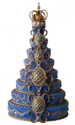 Blue crowned Faberge cake