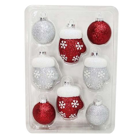 8 Count Rounds and Figures-Red, Silver Mittens: Shopko