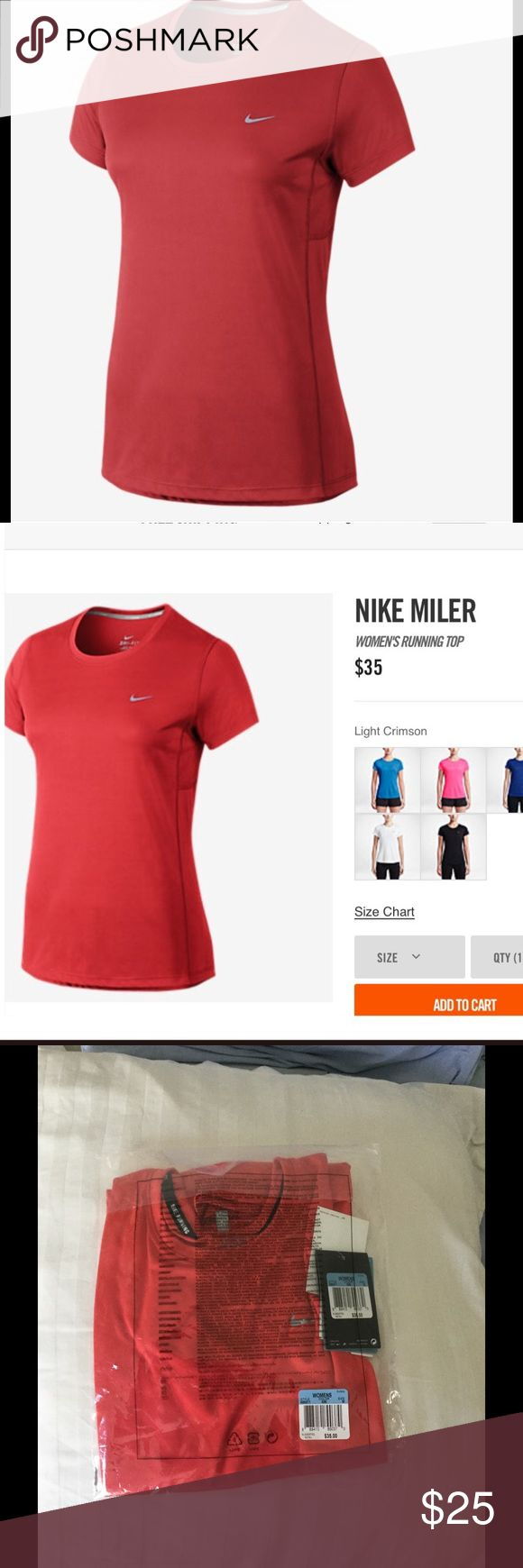 Nike Women's Miler Top Nike women's running top. Stay cool technology. Orange-ish red color. MSRP $35 Nike Tops Tees - Short Sleeve