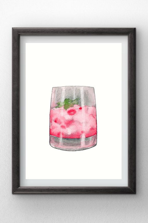 Cocktail  Red Drink  Watercolor painting  instant by Penfood