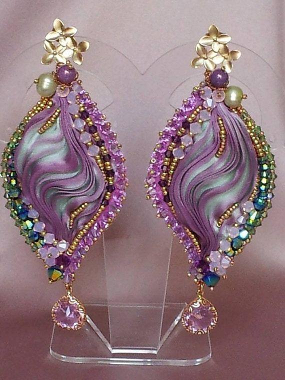 Earrings MINT & GRAPE earrings with shibori silk by PerlineeBijoux, €55.00
