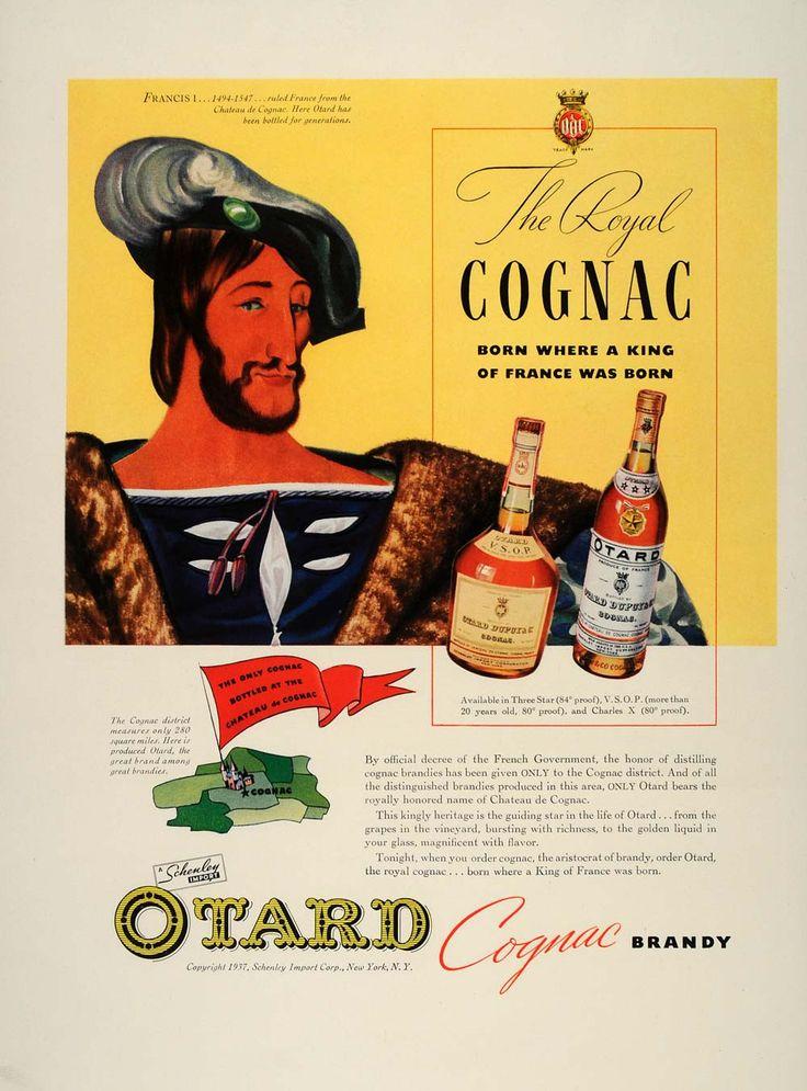 1937 Ad Otard Cognac Brandy roi François I France Royal - ORIGINAL FT8 - Papier Période