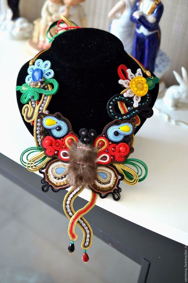 """Купить Сутажное колье """"Летнее"""" - комбинированный, колье, колье с камнями, бабочка, сутажные украшения, подарок"""
