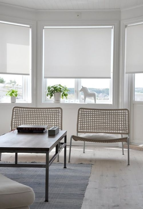 roller shades on bay window in contemporary interior
