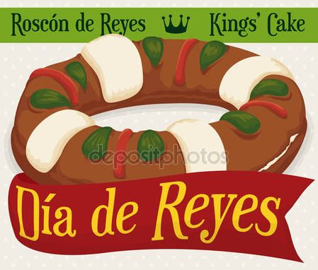 Delicious 'Roscon de Reyes' with Greeting Ribbon for Epiphany Holidays