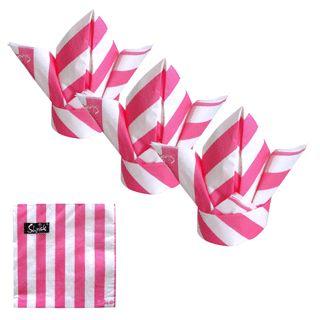 HOT PINK STRIPE 33cmx33cm 20 pack $6.95