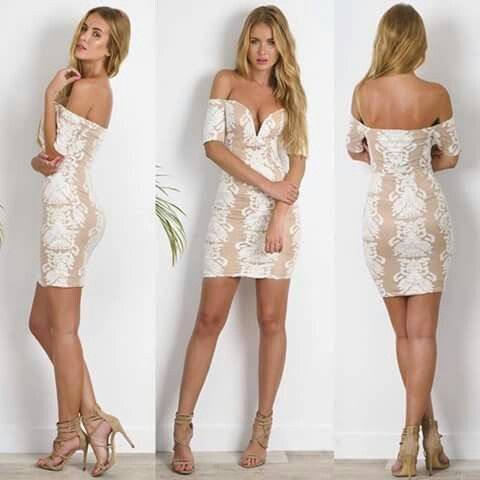 Below shoulder cream and white  Dress  Lovely for Occassions