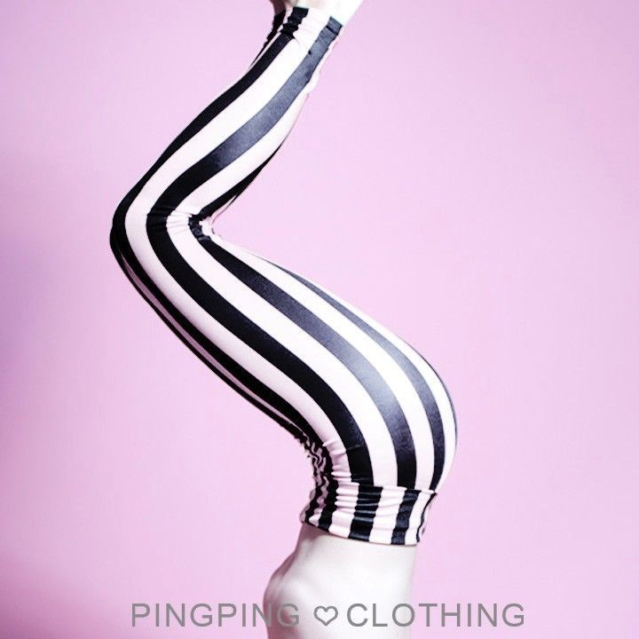 Striped Mime Satin Spandex Leggings Tights High Waisted Beetlejuice Black White
