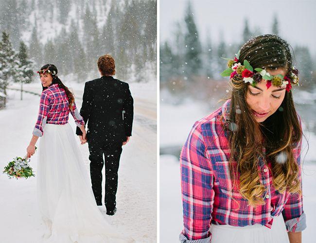 unique look: flannel over wedding dress