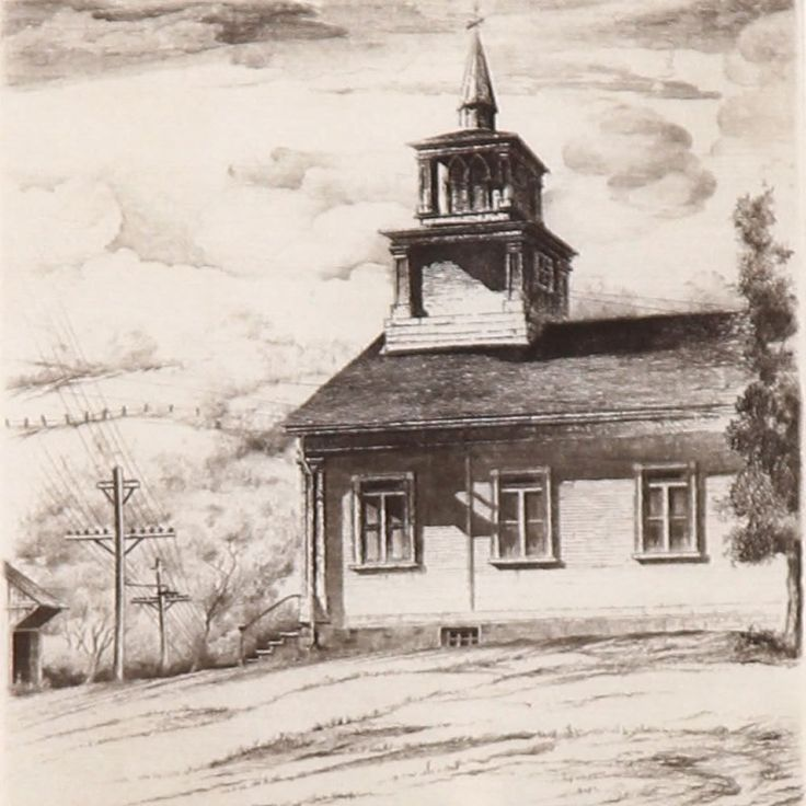 John Taylor Arms Vermont Gothic Etching 1940 John Taylor Vermont Arms