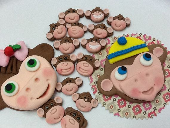 Fondant Monkey Face Cake topper Sets for your Special by anafeke, $18.00