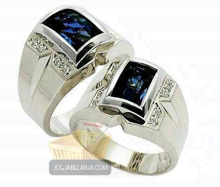 Cincin Kawin Jaan Levi Perak Lapis Emas+Batu Blue Safir