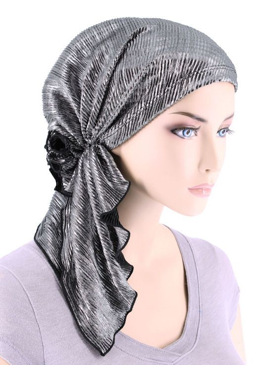 BELLA-702#The Bella Scarf Plisse Silver Black