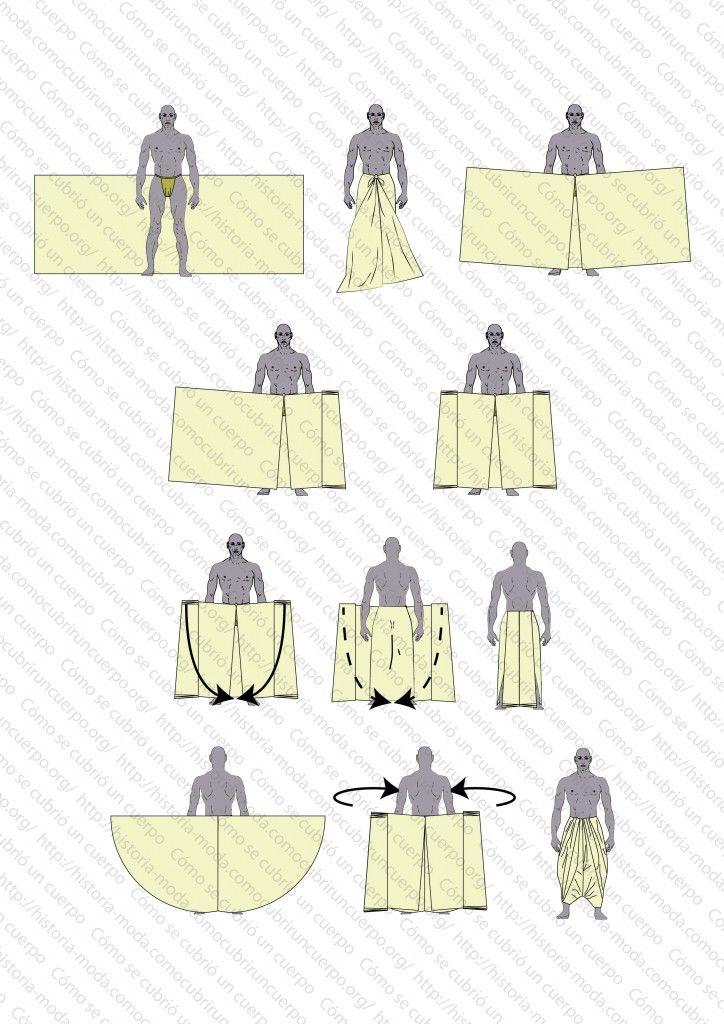 How to put on a dhoti, from Cómo se cubrió un cuerpo: Plataforma de discusión e información de la Historia de la Moda