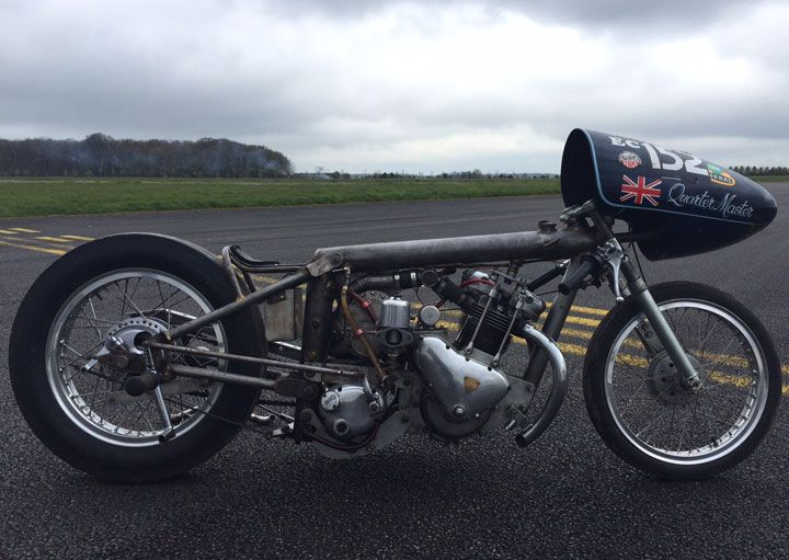 T100 drag racer, Henry Cole, Triumph motorcycles, custom build, drag racing