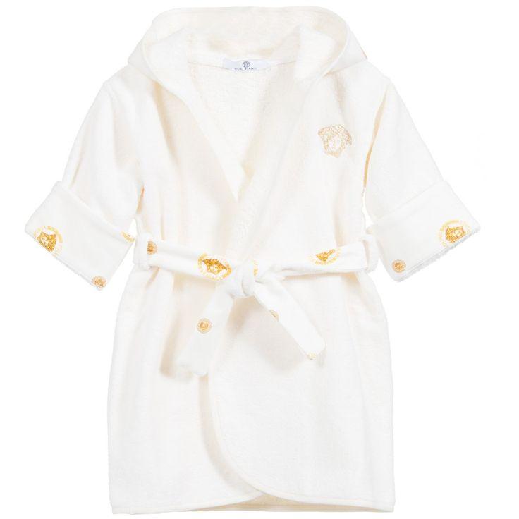 Young Versace - Baby Gold Medusa Cotton Towelling Bathrobe   Childrensalon