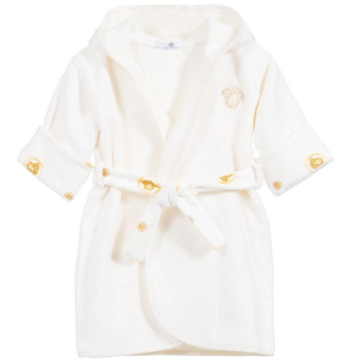 Young Versace - Baby Gold Medusa Cotton Towelling Bathrobe | Childrensalon
