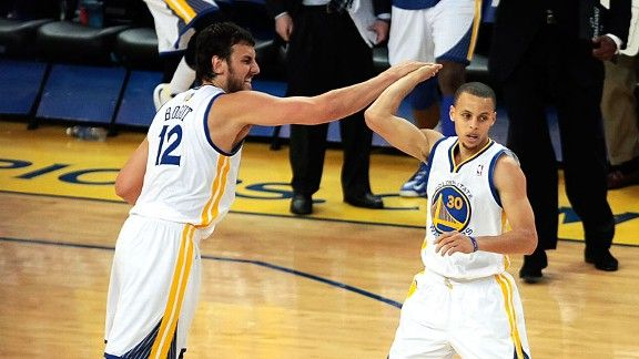 Golden State Warriors Andrew Bogut and Stephen Curry