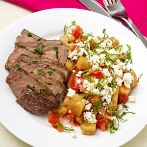 Seared Steak with Eggplant Sauce - 500 calories!! YUMM-O!!!