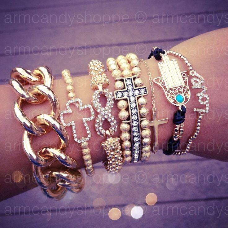 jewelry: Stacking Jewelry, Arm Candy, Chains Bracelets, Jewelry Bracelets, Fashion Accessories, Infinity Bracelets, Wrist Candy, Arm Parties, Crosses Bracelets