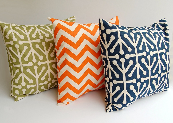 Throw pillows set of three 16 x 16 inches decorative pillow covers natural orange navy blue ...