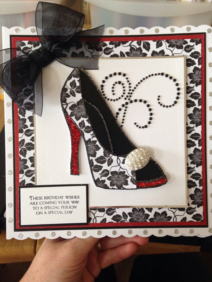 Chloe shoe stamp , black, red and white theme.