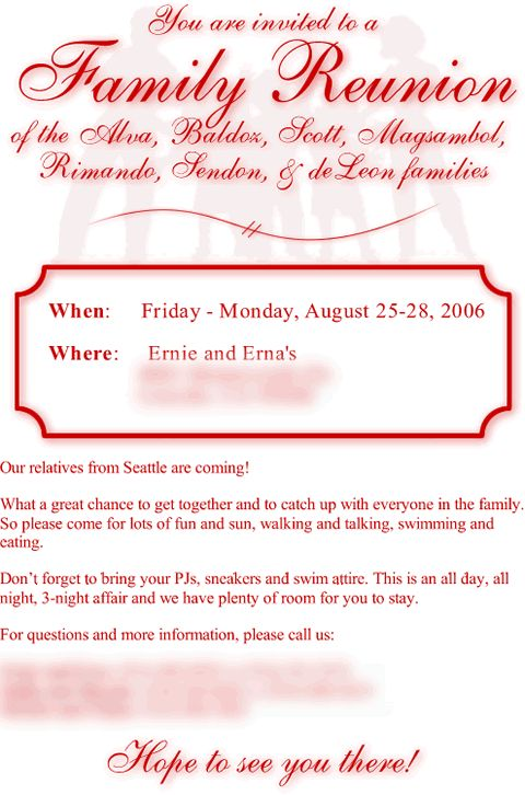 287 best Family Reunion images on Pinterest Family gatherings - family reunion letter templates