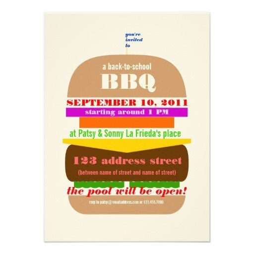 11 best labor day bbq party invitations images on pinterest party cheeseburger bbq cookout invitation template stopboris Images