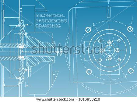 Technical illustration. Mechanical engineering. Backgrounds of engineering subjects. Blue and white #bubushonok #art #bubushonokart #design #vector #shutterstock #technical #engineering #drawing #blueprint  #technology #mechanism #draw #industry #construction #cad