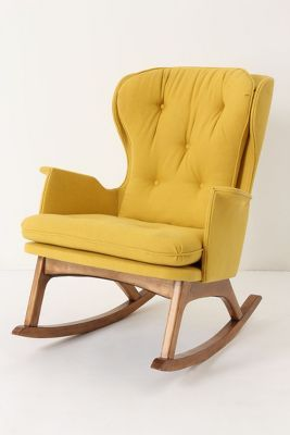 The perfect reading chair!Finn Rocker, Rocks Chairs, Anthropology, Dreams, Nurseries, Rocking Chairs, Living Room, Baby Room, Mustard Yellow
