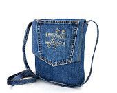 small messenger bag , recycled crossbody denim purse , vegan jean side travel bag for men and women , handmade upcycled bag , blue jean bag