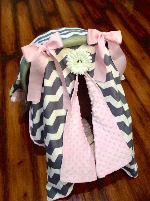 Grey chevron and pink minky Car seat canopy by CoverMeInLoVe