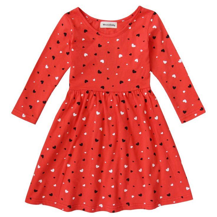 Baby Girls Dresses Cotton Winter Christmas Costumes For Girls Red Heart-Shape Dresses For Kids Autumn Children Toddler Clothing