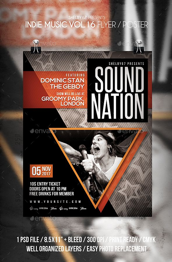 Best Gig Poster Images On   Flyer Template Font