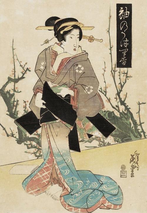 Sode no. Ukiyo-e woodblock print, about 1830's, Japan, by artist Keisai Eisen.