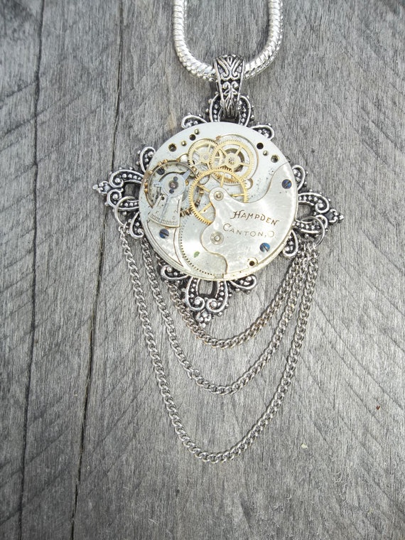 Steampunk Necklace Vintage Pocket Watch Movement Pendant on Silver Chain, Upcycle Time with Draped Chain