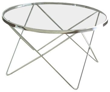 Steve Silver Matrix 3-Piece Glass Top Coffee Table Set with Chrome Legs - traditional - Coffee Tables - Beyond Stores