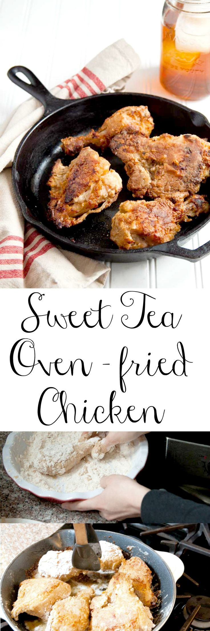 Oven fried chicken! In a sweet tea marinade. Start on Friday, fry on Sunday!