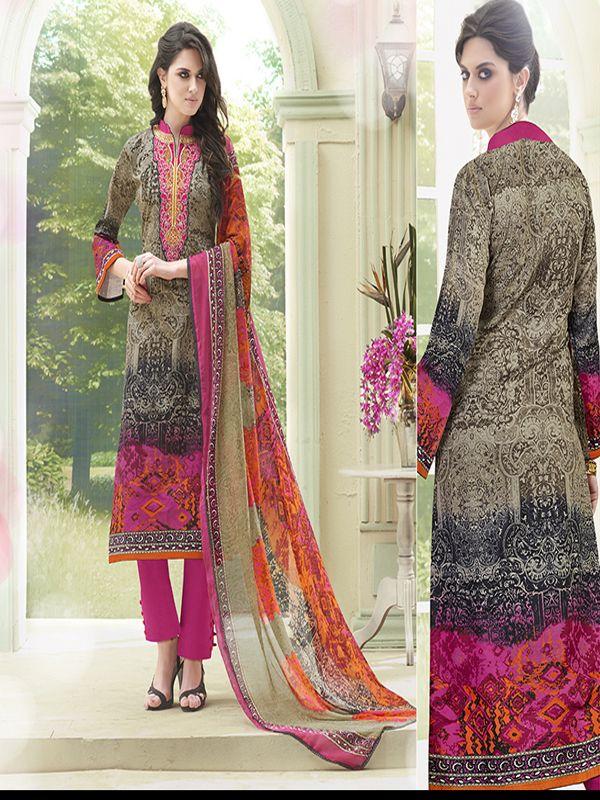 Kiyaza Designer Multicolor Cotton Salwar Suit