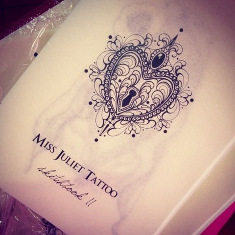 Miss Juliet...Tattoo,Draw and Life: Miss Juliet sketchbook - heart center for chest piece / hand piece