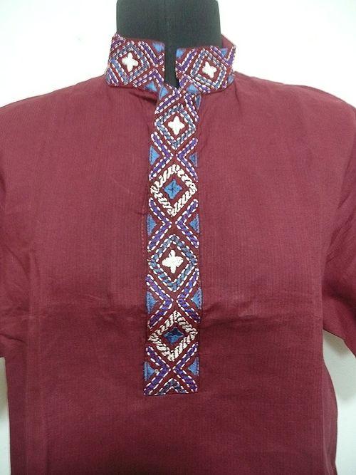 【楽天市場】インド/民族衣装/トップス/ボリウッド/ダンス★エキゾチックな手差し刺繍が魅力的なレンガ色の男性用シャツ top002:MIFASHIONエムアイファッション